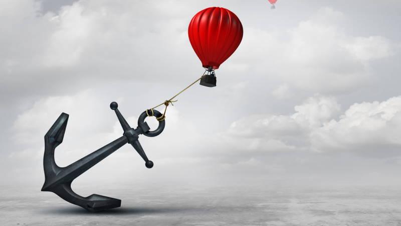 Anchor holding a balloon